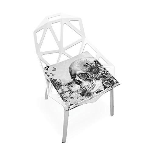 Cojín de espuma viscoelástica para sillas de cocina, suave, lavable, antipolvo, para silla de comedor, cojín de 40,6 x 40,6 cm (flor de calavera) 2030086