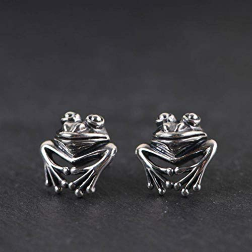 S925 Silver Retro Women's Fashion Frog Silver Stud Earrings Thai Silver Earrings, WOZUIMEI, a Pair, 925 Silver