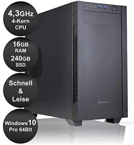 HY Office/Media PC |Intel Core i3-10100 4,3 GHz 4-Kerne|16 GB RAM DDR-4|240 GB SSD|WLAN|Aktuellste Hardware|Ultra Leise|Schnell|Windows 10 Pro 64 Bit
