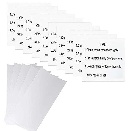 SkingHong Wasserdich Selbstklebender Flicken, 15 Stück Flickzeug (10 Stück Transparent TPU + 5 Stück Weiß Nylon), Reparatur Folie Tape Aufkleber für Luftmatratze, Pool Zelt, Schlauchboot