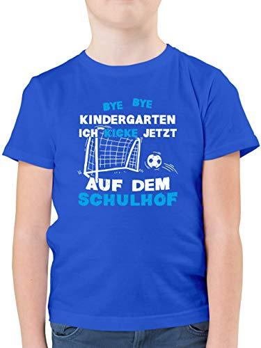 Einschulung und Schulanfang - Bye Bye Kindergarten Einschulung Fußball Blau - 128 (7/8 Jahre) - Royalblau - fußball Kinder 4 Jahre - F130K - Kinder Tshirts und T-Shirt für Jungen