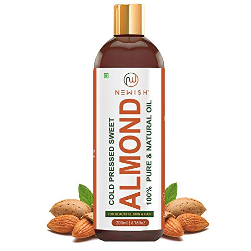 Newish® Pure Cold Pressed Sweet Almond Oil for Hair and Skin, 200ml