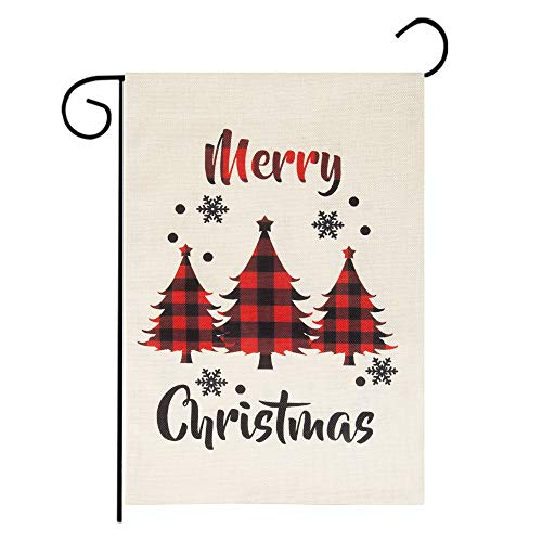 "Roberly Merry Christmas Garden Flag, Vertical Christmas Flag with Buffalo Check Plaid Tree, Double-Sided Christmas Yard Flag Xmas Quote Winter Garden Flag for Outdoor Decoration (12.5"" x 18"")"