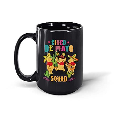 Poooh Cinco De Mayo Squad - Taza de café de cerámica, color negro, 15 onzas