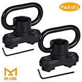 M-lok QD Sling Mount Sling Swivel, GoldCam 2 Pack Quick Detach / Release 1.25' Push Button QD Sling Swivels Mount Adapter Base Attachment for Mlok HandGuard - Black