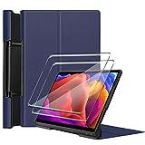 Tasch HYMY Funda para Lenovo Yoga Pad Pro + 2Pcs Vidrio Templado Lenovo Yoga Pad Pro Protectores Pantalla, Protector de Pantalla with Flip Cover Case Carcasa-Navy