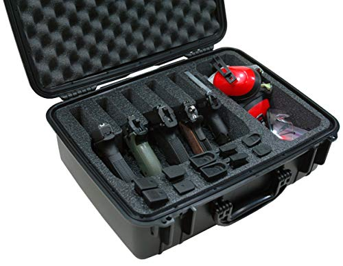 Case Club 5 Pistol & Accessory Pre-Cut Waterproof Case with Silica Gel to Help Prevent Gun Rust