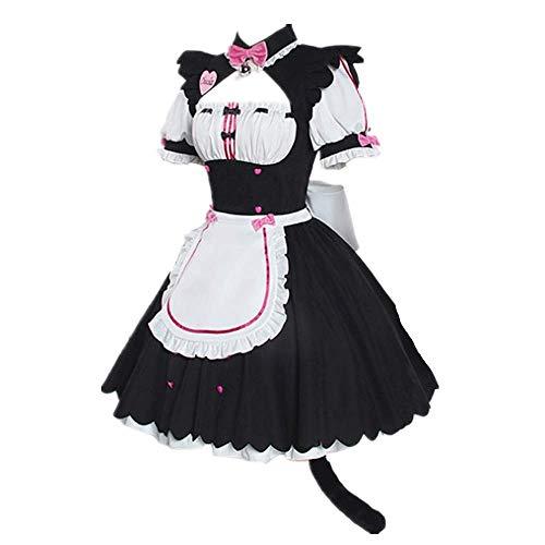 Fotografie Cosplay Kostüm NEKOPARA Vanille Schokolade Dienstmädchen Schürze Lolita Gothic KleidSüßer Rock Anzug Mit SchwanzZubehör