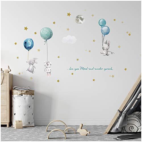 Juego de pegatinas de globo aerostático en 4 hojas DIN A4, total 150 x 55 cm, adhesivo de pared para habitación infantil, habitación de bebé, acuarela Y057-4 (conejo 2)
