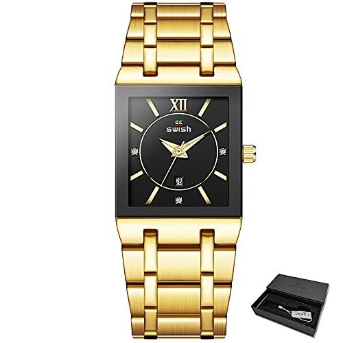 Msltely Braccialetto di Lusso delle Donne Orologi Top Dress Dress Orologio al Quarzo Ladies Golden Rose Gold Watch Orologio da Polso Relogio Feminino 2020 (Color : Gold Black with Box)