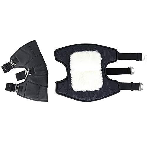 NBWS Rodilleras resistentes al viento, para invierno, equitación, motocicleta, piel, lana, talón corto, ciclismo cálido