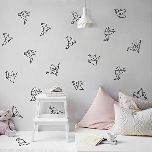 WFYY Vogel Wandtattoos Origami Geometrische Kinder Kunst Dekor Vinyl wandtattoo Für Geometrische Fliegende Vögel Wanddekoration Für Wohnzimmer Moderne Wanddekor 9 Stile 27 Pcs