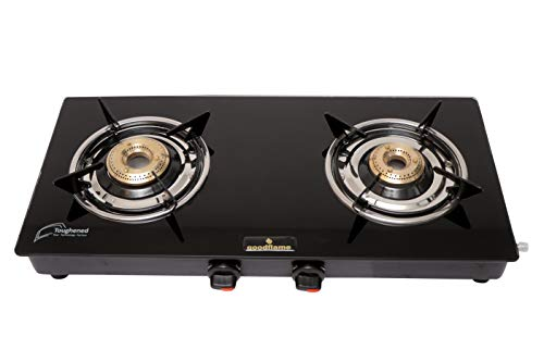 Good Flame 2 Burner Gas Stove, Black (Glass Top, ISI Certified)