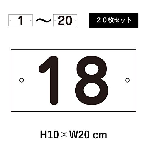 番号札 屋外 1〜20セット H100×W200mm アルミ複合板 左右取付穴あり 駐車場 cn-1-2-1-20