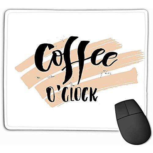 Muis Pad Koffie o Klok Grappige Maandag Ochtend Handgeschreven Lettering Citaat Goede Posters Prints Kaarten Banners Typografische Rechthoek Rubber Mousepad 30X25CM