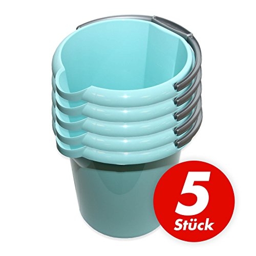 Putzeimer Set mit Ausguss und Skala, 10 Liter - Eimer rund, Wassereimer Kunststoff, Haushaltseimer Plastik - verschiedene Farben - 5 Stück, Farbe:türkis light
