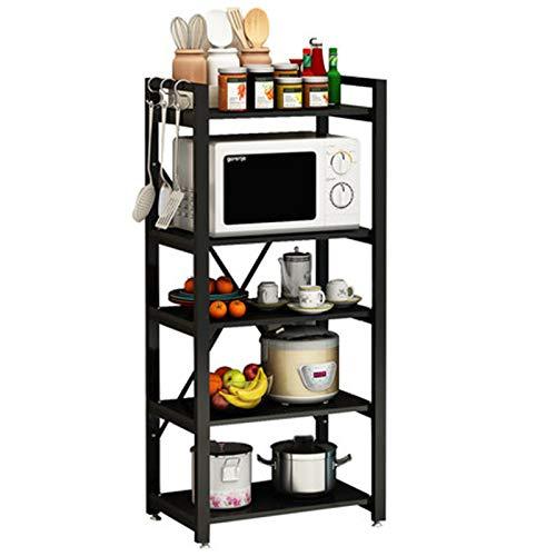 Estante multifuncional para microondas, cocina, cocina, cocina, cocina, cocina, ahorro de espacio, 40 x 60 x 140 cm, color negro