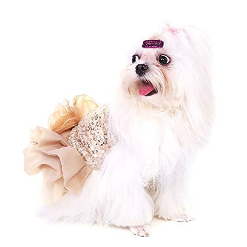 Garosa Vestido De Perro para Mascotas Ropa para Perros Pequeños Lentejuelas Tiquín Sedoso Disfraz De Perrito Princesa Elegante Falda Traje De Boda(S-Beige)