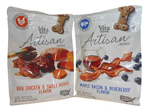 Vita Bone Artisan Inspired Dog Biscuits (BBQ Chicken & Sweet Potato Flavor and Maple Bacon & Blueberry Flavor) 2 Pack