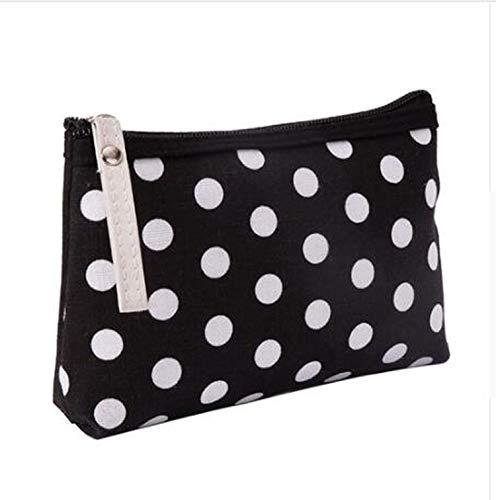 N/A Femmes Plaid Travel Cosmetic Handbag Female Zipper Purse Pouch Cosmetic Make Up Bags Black