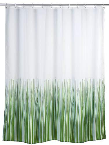 Wenko Anti-Schimmel Duschvorhang Nature, Textil-Vorhang mit Antischimmel Effekt fürs Badezimmer, waschbar, wasserabweisend, mit Ringen zur Befestigung an der Duschstange, 180 x 200 cm