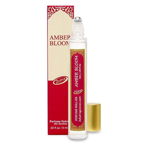 Amber Bloom Perfume Oil Roll-On (No Alcohol) - Essential Oils and Clean Beauty Hypoallergenic Vegan Perfumes for Women and Men by Zoha Fragrances, 9 ml / 0.30 fl Oz