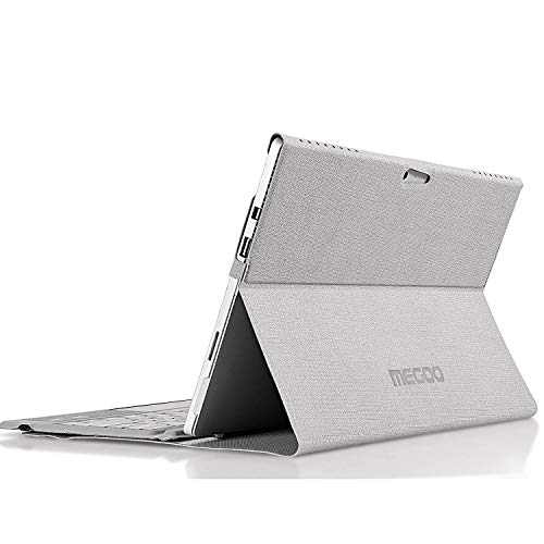 MEGOO Surface Pro 7 Folio Stand Cover, Multi-Angle Viewing, Magnetic, Protective Sleeve, Also For Microsoft Surface Pro6/5/4, Compatible with Screen Protector & Type Cover Keyboard - Gray