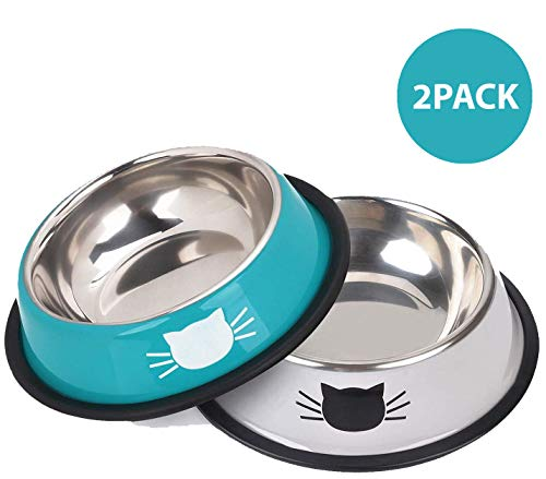 YASMA Cat Bowls Stainless Steel Pet Cat Bowl Kitten Rabbit Cat Dish Bowl with Cute Cats Painted cat Food Dish Easy to Clean Durable Cat Dish for Food...