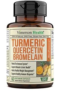 Turmeric Curcumin Bromelain Quercetin Bioperine Occasional Joint Discomfort Relief Supplement Antioxidant Properties for Immune Heart Digestive Health Supports Balanced Inflammatory Response.