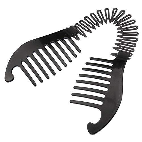 Xiton 1 STÜCK Biegbar Kunststoff Kamm Pferdeschwanz Haar-Styling-Tool Modern Bananenclip Verriegelungskamm FranzöSischer Seitenkamm FüR Frauen MäDchen DIY Frisur(Schwarz)