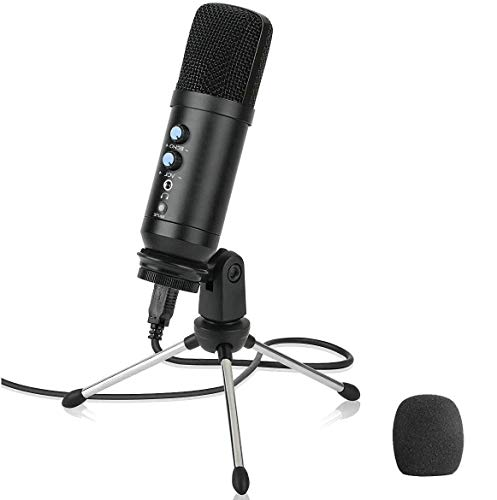 USB Podcast Microphone for Computer Multipurpose,GRyiyi Desk Condenser Microphones for Pc or Mic, PS4, Voice Overs, Recording Streaming and YouTube