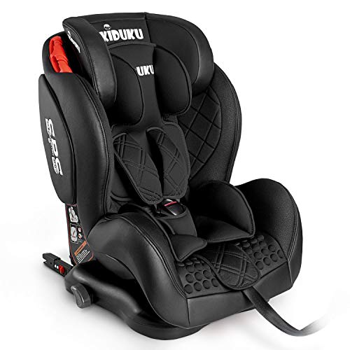 KIDUKU® Kindersitz Autokindersitz mit ISOFIX | Kinderautositz aus ECO-Leder | Autositz mitwachsend | universal | zugelassen nach ECE R44/04 | 9 kg - 36 kg 1-12 Jahre | Gruppe 1/2/3 (Schwarz)