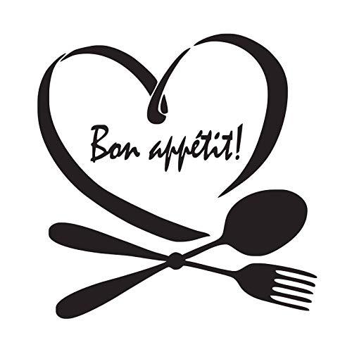 wangpdp Disfrute de su Comida Pegatinas de Pared Cocina Francesa Pared Vinilos Decorativos Tatuajes de Pared Cuchara en Forma de corazón Tenedor Pegatinas 44x45cm