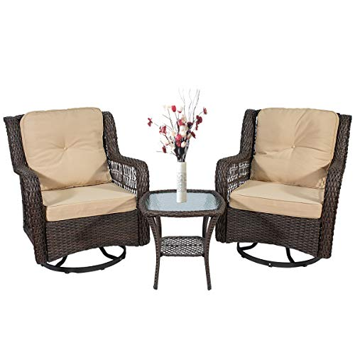 X&T 3-Piece Patio Furniture Swivel Rocking Rattan Chairs Set,Outdoor Conversation Set, Bistro Table Sets, Brown Wicker Sofa Chair Sets of 2 with Glass Coffee Table of 1 …