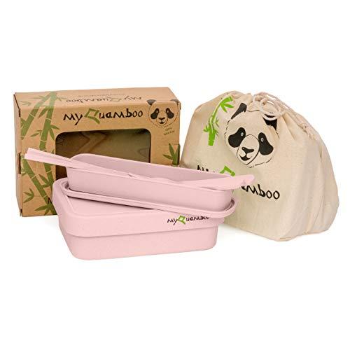 myQuamboo Lunchbox aus Bambusfasern inkl. Besteckset & Lunchbag | Bento Lunchbox mit Trennwand BPA frei | Pausenbrot- und Snackbox für Arbeit, Schule, zu Hause oder unterwegs | mikrowellenfest (Rosa)