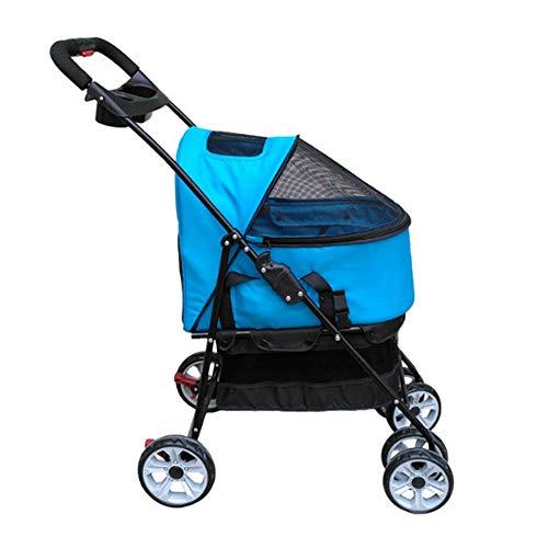 PLDDY Haustier Tasche Haustier-Spaziergänger, leichtes faltendes faltendes Haustier-Auto-Leichtgewichtler Breathable vier-fahrbarer Haustier-Auto-Korb-Wagen (70 * 48 * 102CM) (Farbe : B)