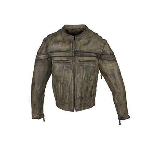 Mens Brown Naked Leather Motorcycle Jacket with Gun Pockets Reflective Piping (XL)