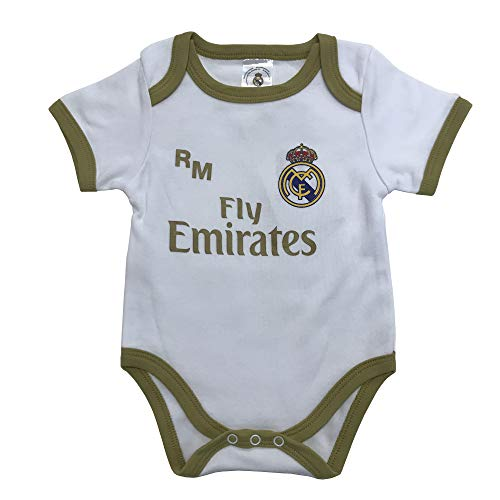 Champion\'s City Real Madrid FC Body Kinder – offizielles Erstausstattung 2019/2020 – personalisierbar – Name, Weiß 3 Monate
