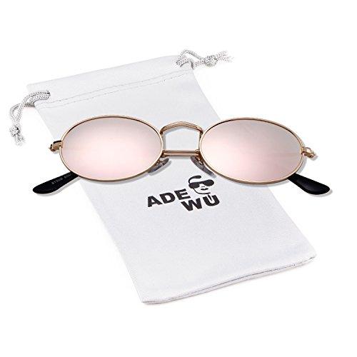 ADEWU Gafas de sol para mujer, gafas ovaladas pequeñas Gafas vintage redondas...