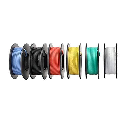 Filo di silicio flessibile -elettronica kit di cavi elettrici cavi di silicio intrecciati filo cavo di rame stagnato 5 colori 600V 20A -60 ° C - + 200 ° C 5 x 3 metri (ACMOMO 30A)