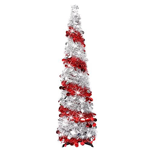 5ft Artificial Christmas Tree Shiny Tinsel Folding Xmas Tree with Stand Gorgeous Collapsible Christmas Tree Reflective Star Decorative Glittering Tree for Christmas Festival Holiday Decorations