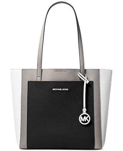 """100% Colorblocked Pebbled Leather, silver-tone hardware, front slip pocket Interior: back slip pocket, back zip pocket Snap fastening, Lining: 100% Polyester Shoulder straps 10 3/4"""" Approximate measurements: 15"""" W x 11 1/2"""" H x 5 1/4"""" D"""