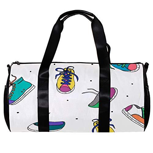 Bolsa de deporte redonda con correa de hombro desmontable, colorido dibujado a mano, zapatos deportivos de entrenamiento, bolsa de noche para mujeres y hombres