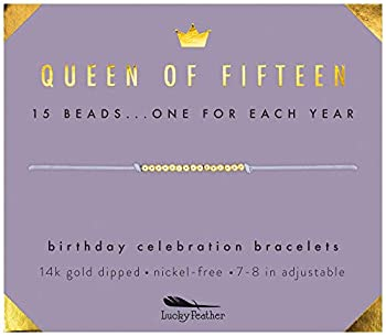 Lucky Feather Quinceanera Gifts for 15 Year Old Girls  15th Birthday Bracelet with 15 14K Gold Dipped Beads Marking Each Year on Adjustable Cord