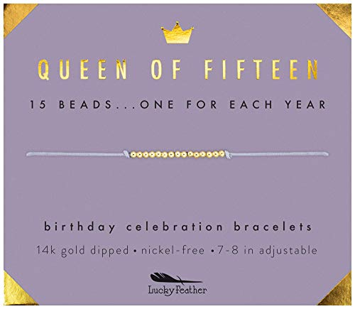Lucky Feather Quinceanera Gifts for 15 Year Old Girls; 15th Birthday Bracelet with 15 14K Gold Dipped Beads Marking Each Year on Adjustable Cord