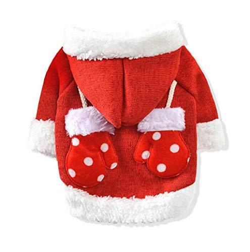 Weihnachten Hundebekleidung,TWBB Winter Gepolstertem Warme Hundepullover Hundemantel Hundejacke Haustier Katze Hunde Gestrickter Strickpullover Niedlicher Hoodies Coat Kapuzenpullis mit Handschuhen