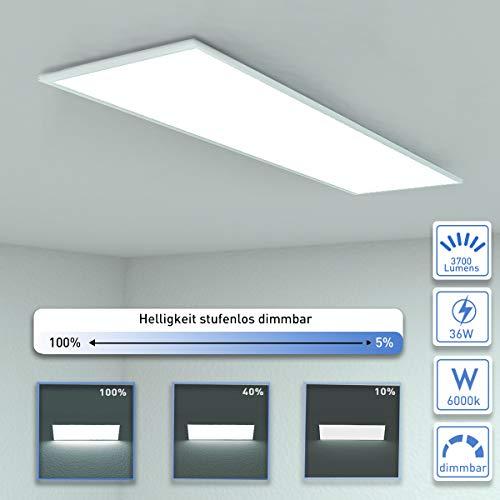 OUBO Deckenlampe Deckenleuchte LED Panel dimmbar 120x30cm Kaltweiß / 36W / 3700lm / 6000K Flurlampe Decke Wandleuchte Schlafzimmer Kinderzimmer