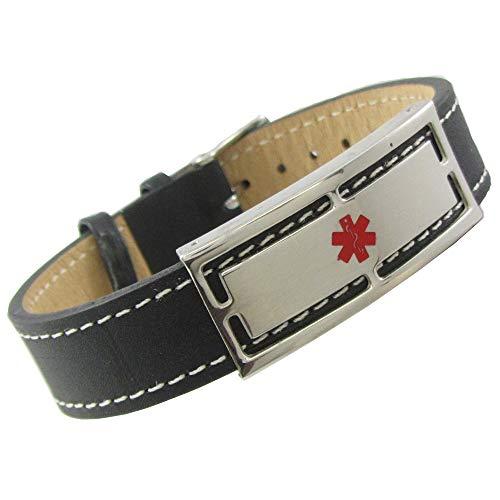 My Identity Doctor - Genuine Leather Medical Alert Bracelet with Engraving 7in-8.25in Black