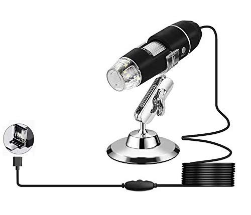 USB Microscope,1000x Magnification Endoscope, 8 LED USB 2.0 Digital Microscope, Mini Camera with OTG Adapter and Metal Stand, Compatible with Mac Window 7 8 10 Android Linux (Black)