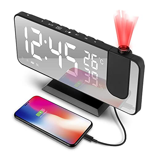 Sveglia con Proiettore,7.3 Pollici a 180° di Rotazione Sveglia Digitale da Comodino a LED,Radio FM Umidità Temperatura Interna,Porta di Ricarica USB Sveglie 4 Livelli di Luminosità (Nera)